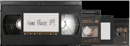 VHS, S-VHS, VHS-C, Hi-8, Digital 8, Mini DV