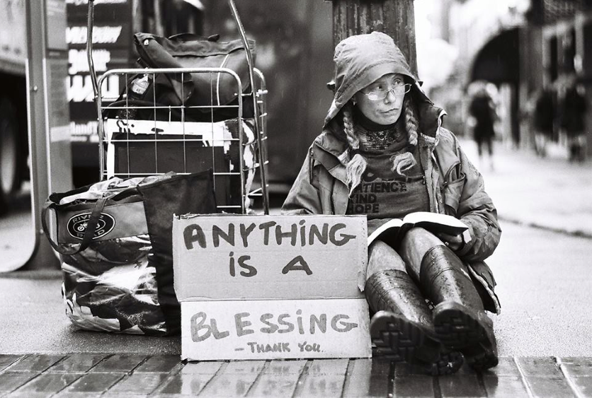 """2nd - Ben Perszyk's beautiful black & white """"Anything Is A Blessing"""" candid street moment on Ilford Delta FP4 with a Leica M2. He'll be receiving the Canon Canonet QL17!"""