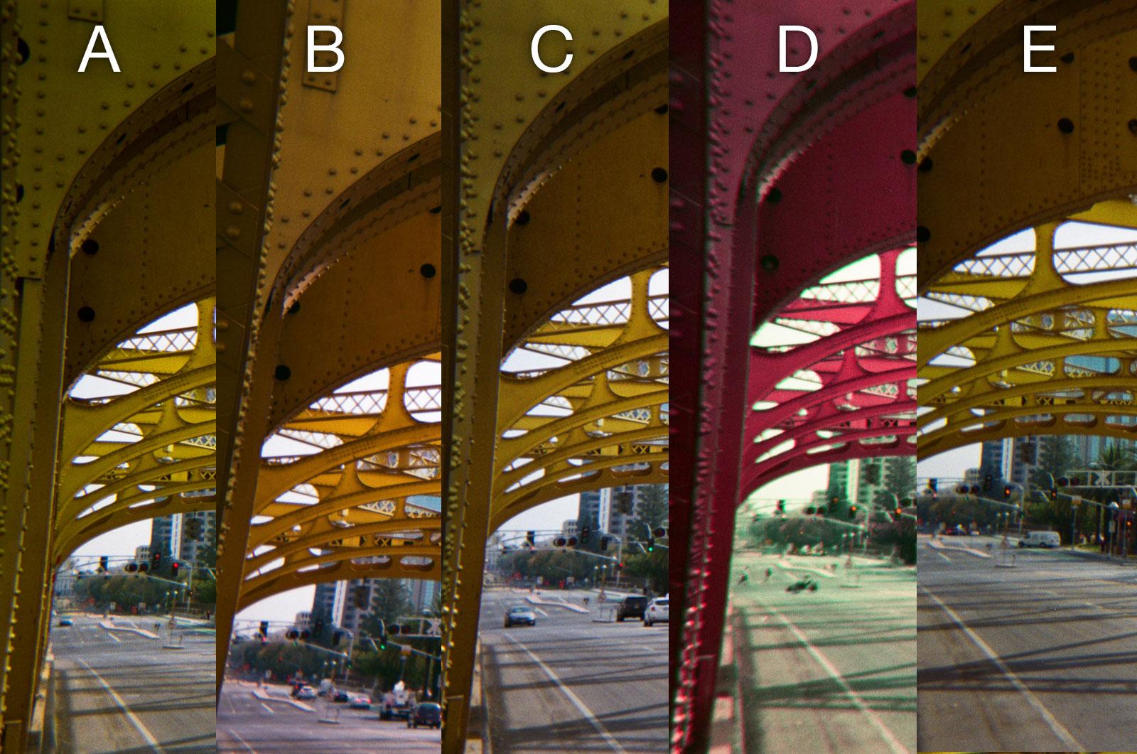 Disposable Camera Color Photo Comparison