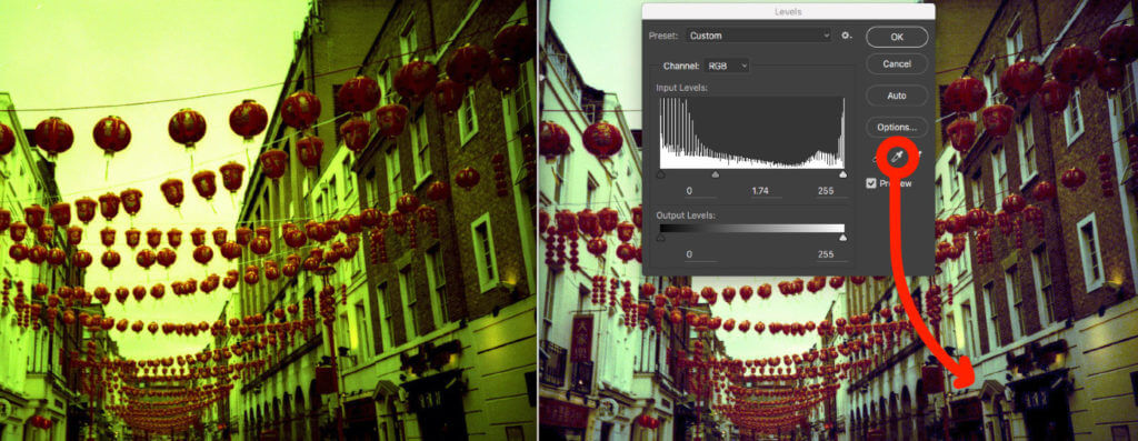 adjusting the white balance in cross processing image