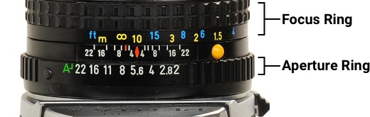 camera lens aperture and focus ring