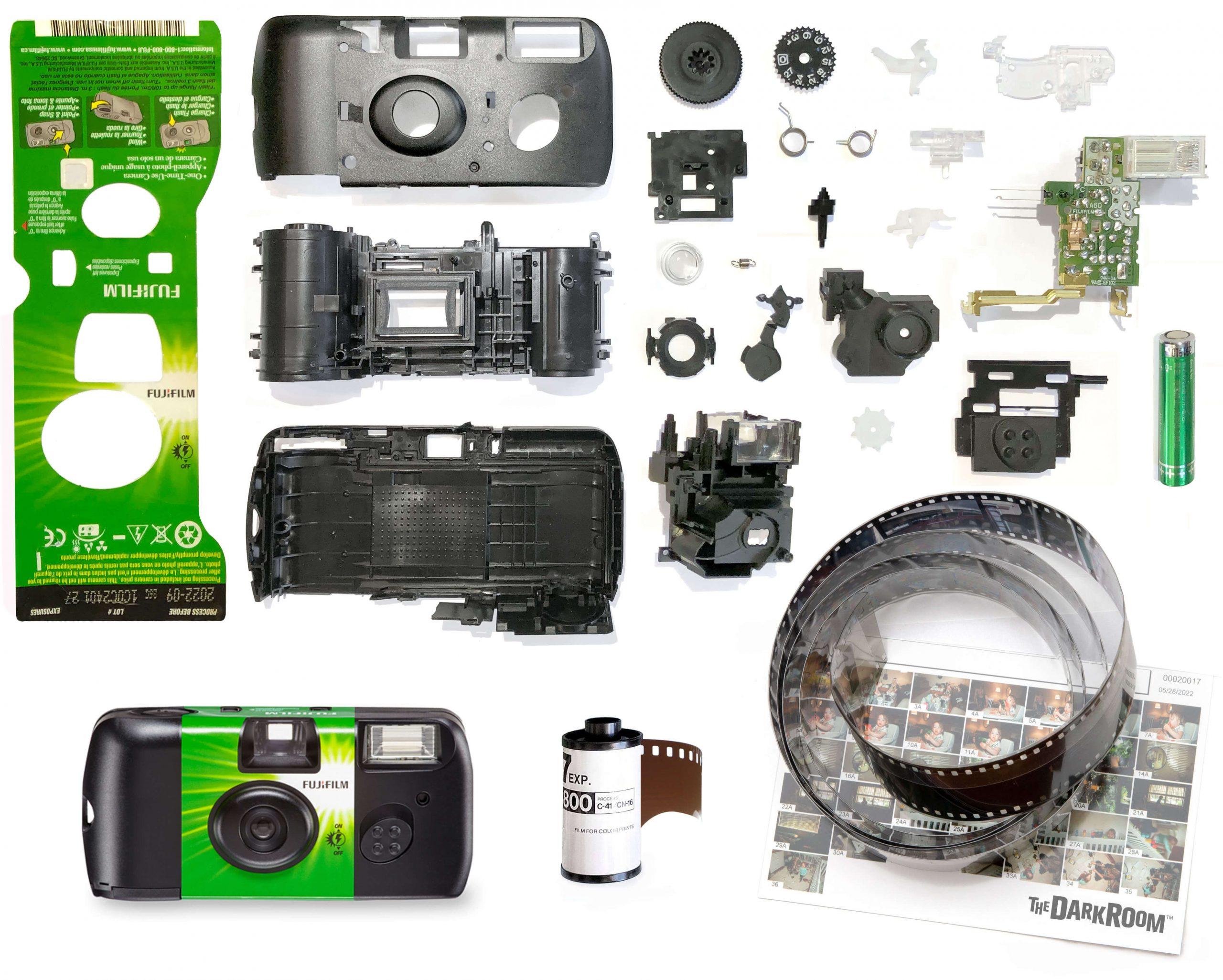 Fujifilm Quick Snap disposable camera exploded