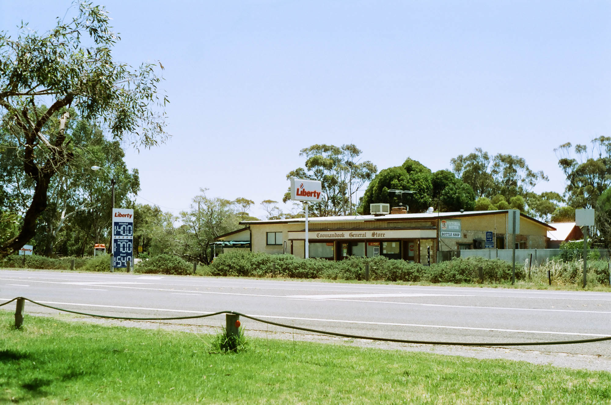 In South Australia, a rural shop in a bright sunny summer day. Shot on Pentax K1000.