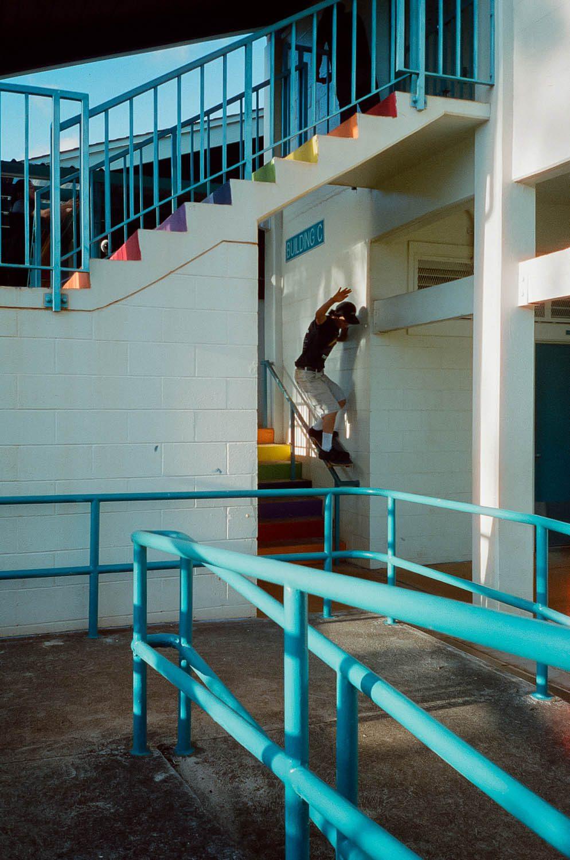 Here's a photo of my homie Caleb Sugai skating a high school in Hawaii. (800T)