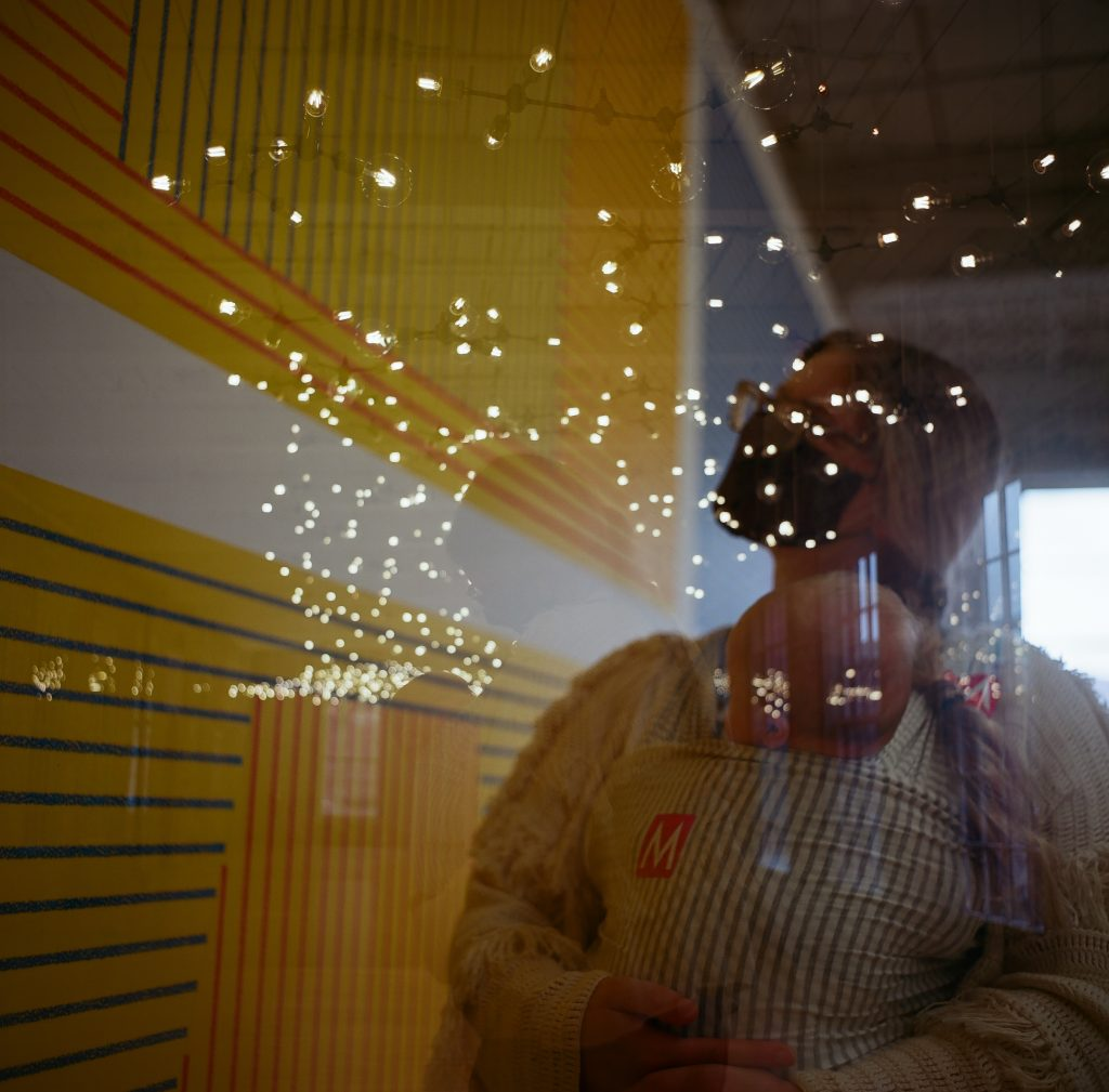 """Double exposure feat. Spencer Finch's """"Cosmic Latte"""" and Sol Lewitt """"Wall Drawing 340"""", at MassMOCA. Mamiya C22."""