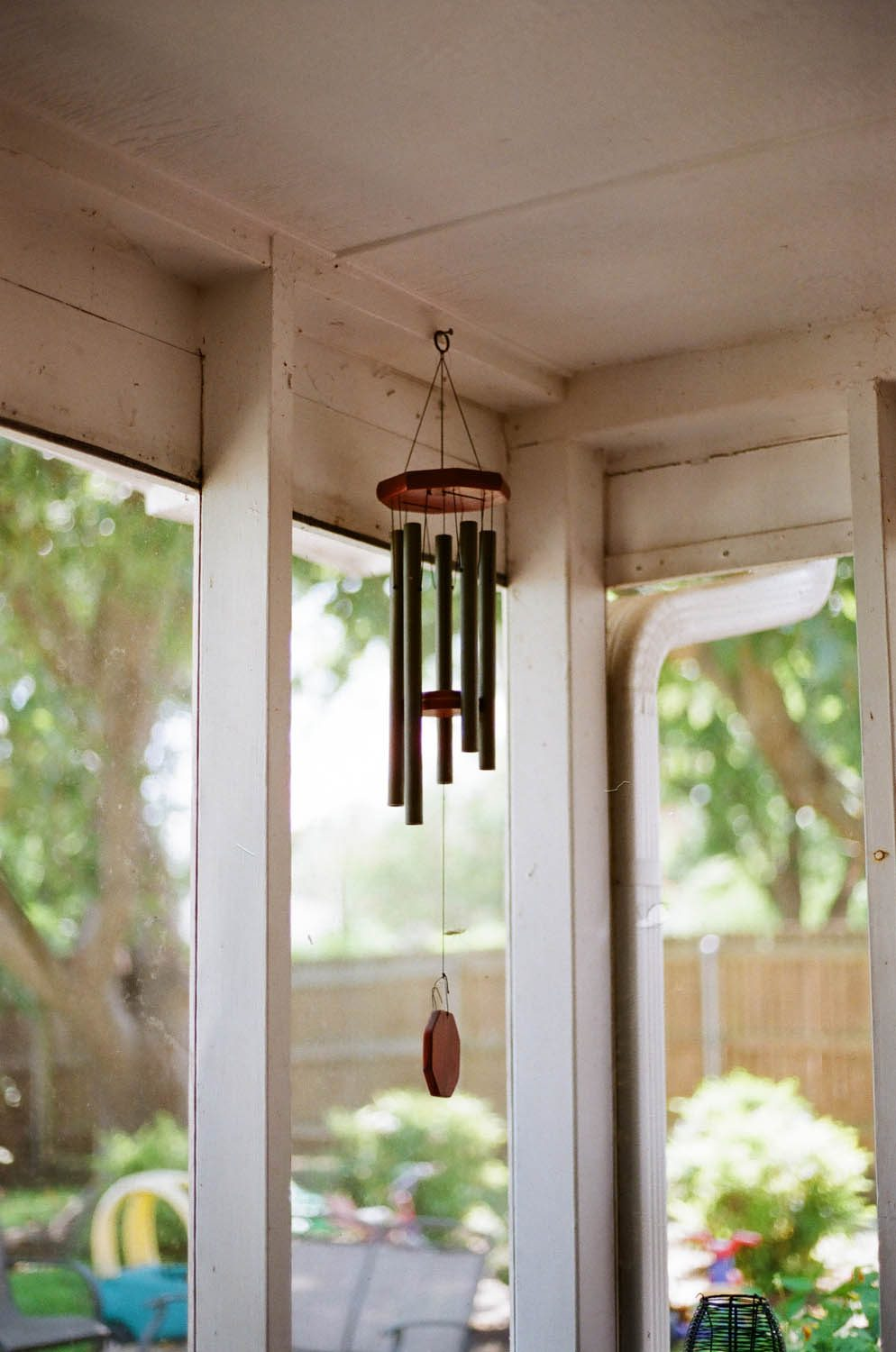 A windchime at my friend's house. Shot at 200, developed at 320 by the Darkroom.