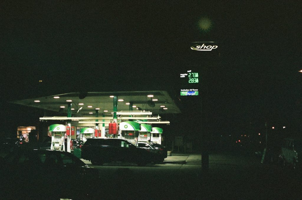 Gas station-50mm nippon kogaku lens (Nikkor) nikon photomic fm2