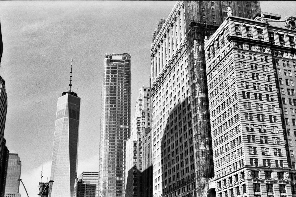 A city-scape showcasing highlights and shadows... check out the Freedom Tower! Shot on a Yashica Electro 35