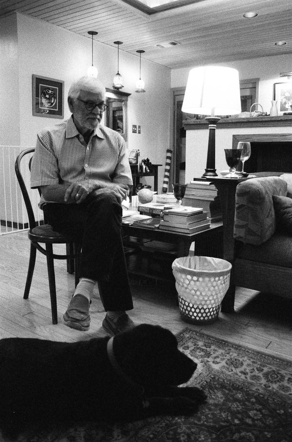 A shot of a relative and his dog. Shot at 3200, and developed at 3200 by the Darkroom.