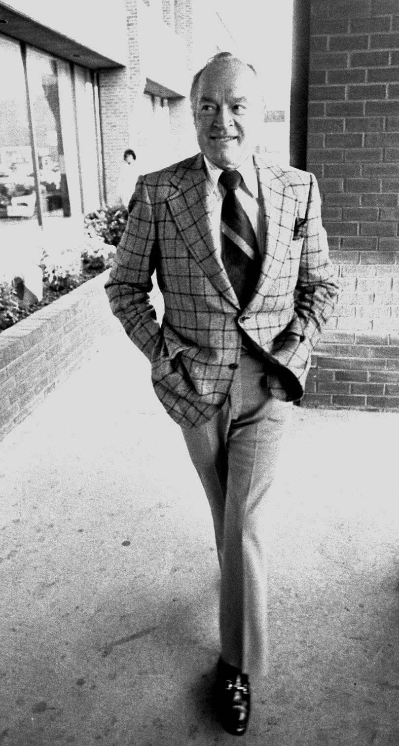 Bob Hope in front of his hotel.