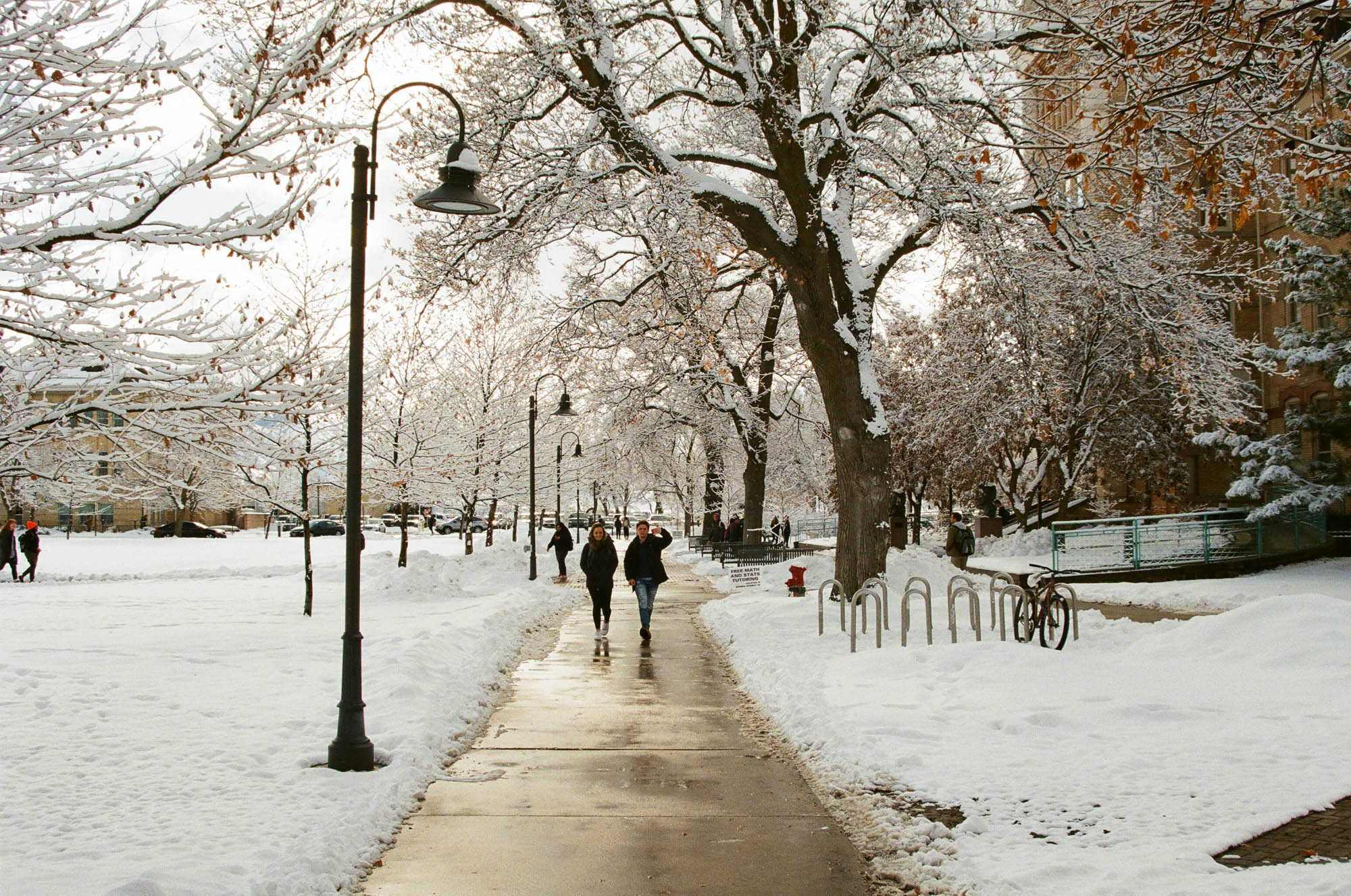 Utah State University campus in on a snowy January 2020 afternoon