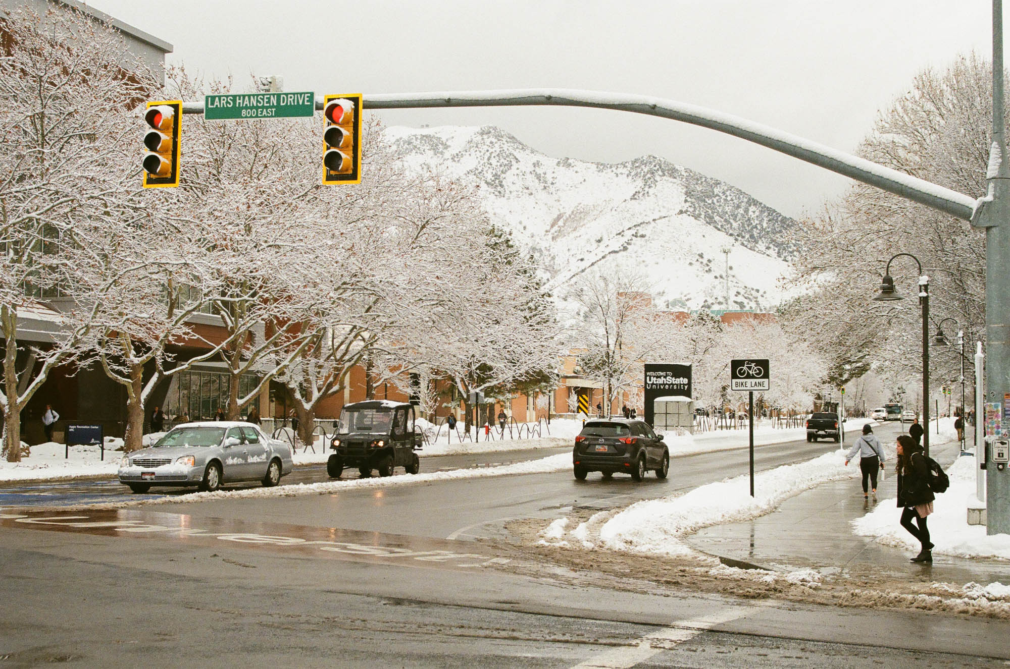 Utah State University campus on a snowy January 2020 afternoon