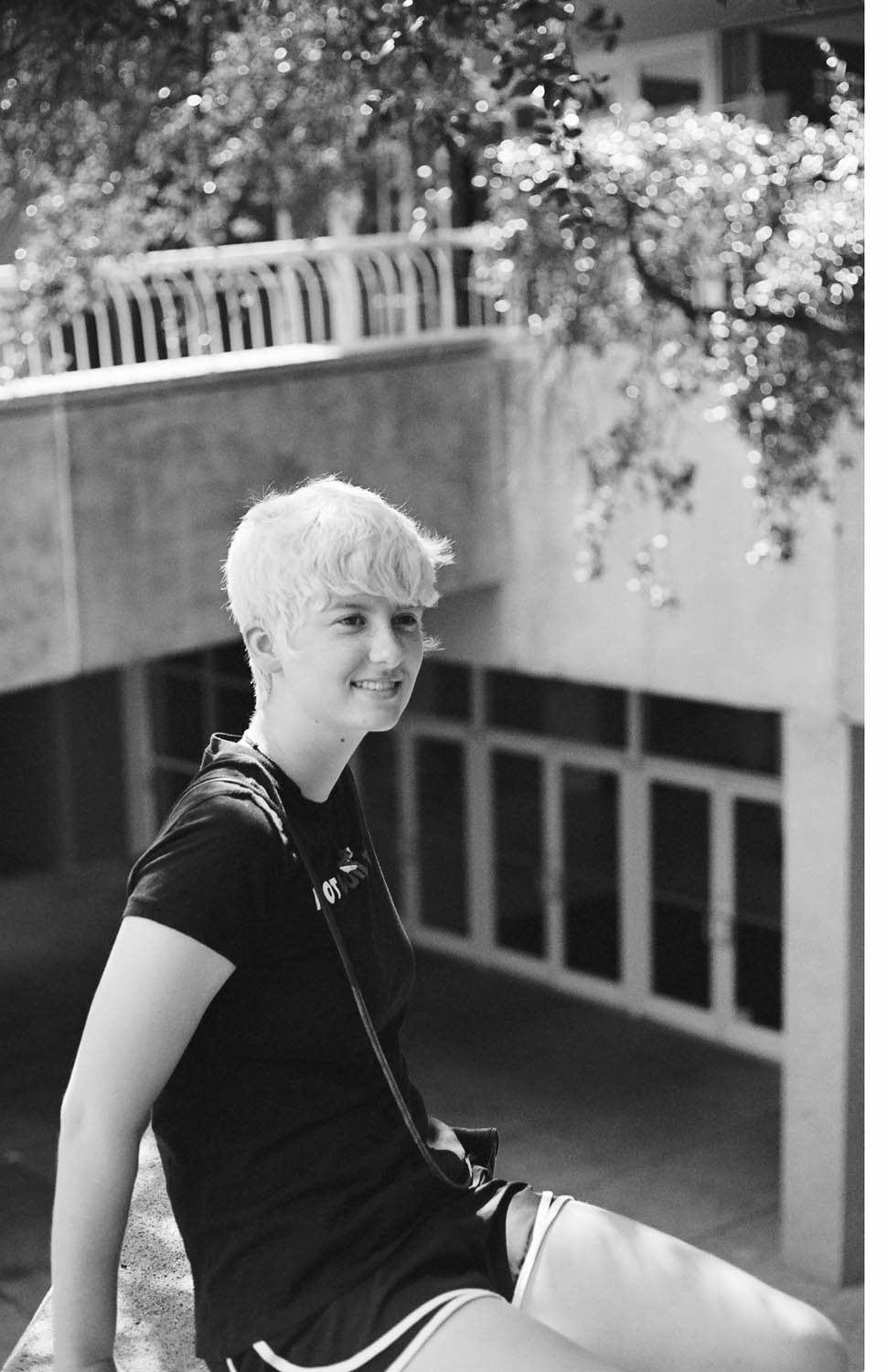 A portrait of a friend. Shot at 320 to prevent underexposure, developed at 400 by the Darkroom.